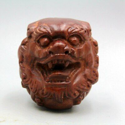 Collectable China Antique Boxwood Unique Hand-Carved Lion Head Exorcism Pendant