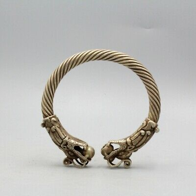 Collectable Qianlong Years Miao Silver Hand-Carved Dragon Head Exorcism Bracelet
