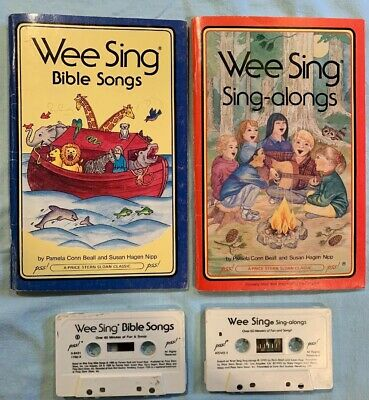 Lot of 2 Wee Sing: Bible Songs, Silly Songs, Finger Plays Books & Cassettes