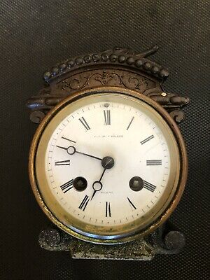 Antique French Clock Movement  Time Only Complete And Working.