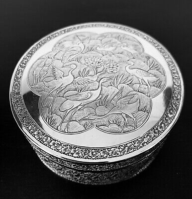 Antique hand engraved Persian Islamic Arabic round box 145 gr