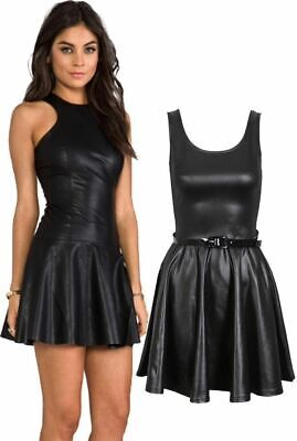 Womens Wet Look PU Flared Skater Belted Dress Scoop Neck Stretch Party Wear 8-26