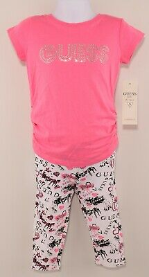 GUESS Girls' 2pc Adorable Summer Outfit, Top & Leggings, Pink/White, 4 years