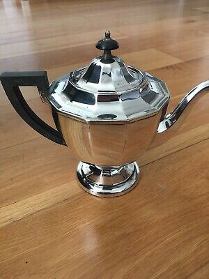 Silver Plated EPNS Teapot Coffee Pot Art Deco Vintage Hinged Lid