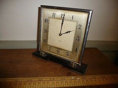 Antique / Vintage Art Deco period Smiths 8 Day Mantel Clock . Chrome / Bakelite