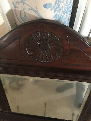 victorian coat rack with mirror in mahogany wood. Size 73 x 71.COLLECTION ONLY