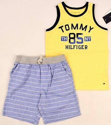 TOMMY HILFIGER Boys' Kids' 2pc Summer Outfit Set, Top & Shorts, size 4 years
