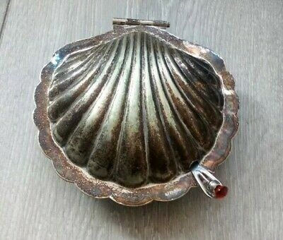 VTG Silver plated EPNS opened scallop oyster shell bowl butter dish Distressed