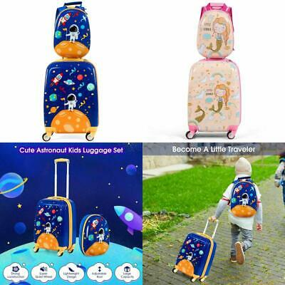 2Pc Kids Luggage Set | 12 Backpack & 16 Rolling Suitcase | Child Travel ABS