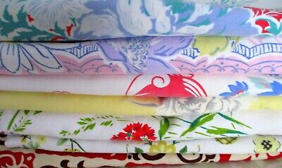 Lot of 7 Colorful Vintage Floral Cotton Tablecloths