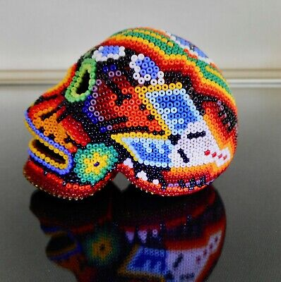 Day of the Dead Skull Huichol Beaded Art Signed Clay Sculpture Mexican Folk Art
