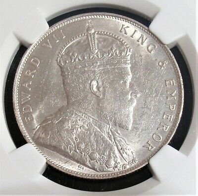 Straits Settlements: British Colony. Edward VII Dollar 1907 MS61 NGC