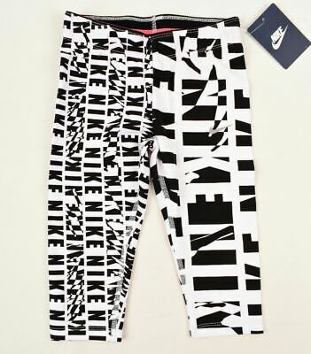 NIKE Girls' All-Over Print Cropped Leggings, White/Black, sizes 4 5 6 7 years