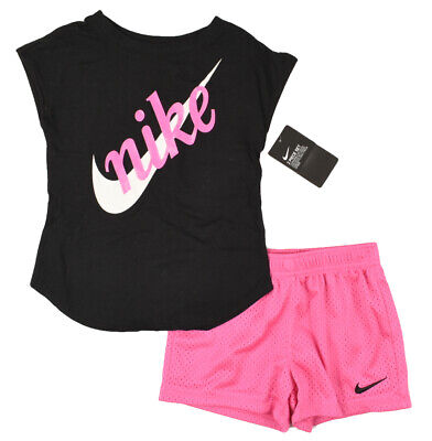 NIKE Girls' 2pc Outfit Set, Pink Shorts and Black Top size 4-5 or 5-6 years