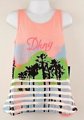 DKNY Girls' Kids' Summer Relaxed Fit Vest Top, Printed, Flamingo Pink size 7 y.