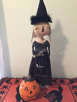 Primitive Witch Doll Hilda Folk Art Witch Doll With