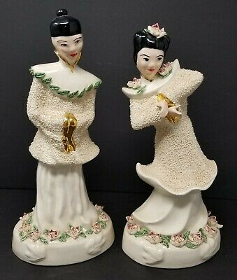 Vintage Asian Figure Oriental Man Woman Statues Ceramic Chinese Figurines 11.5""