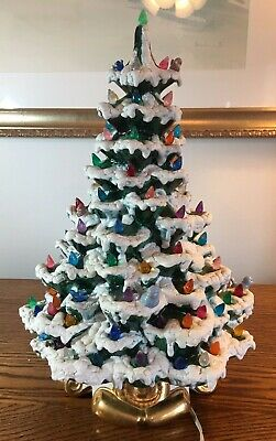 Vintage 18 Inch Tall Ceramic Frosted Electric Christmas Tree Lots of Lights