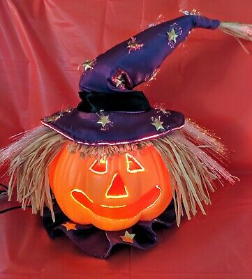 Lighted Fiber Optic Color Changing Pumpkin Head Scarecrow Jol Halloween Witch