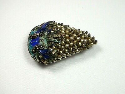 Antique Chinese Enameled Silver Grape Robe Fur Dress Clip Brooch China