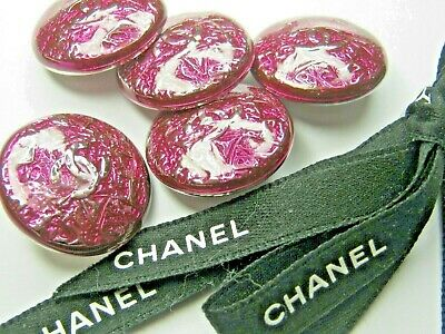 💋💋💋💋💋 Chanel 5 SILVER cc buttons FUCHSIA PINK  23mm lot of 5 good condition