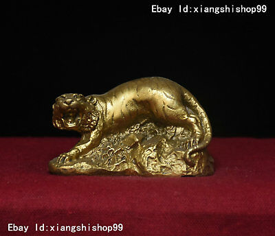 Chinese Folk Feng Shui Pure Copper Brass year Zodiac Tiger Statue Figurine