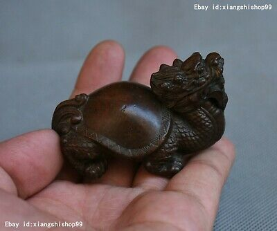Chinese Feng Shui Pure Purple Bronze Longevity Dragon Turtle Statue Figurine