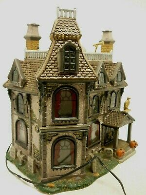 "Lemax Spooky Town ""ALFORD MANSION"" Porcelain Haunted House 2002"