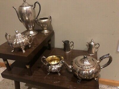 Antique- tag Silver Plate Old English Melon 3-Piece Coffee/ Tea Set & more