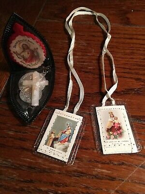 Brown Scapular with Medals Mary Our Lady of Mt. Carmel and St. Simon Stock