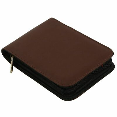 1X(Fountain Pen Roller Brown Leather Binder Case Holder Stationery for 12 P M7E4