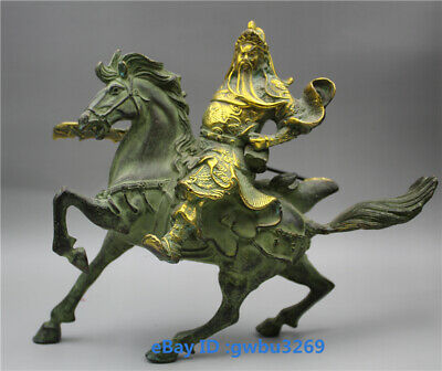 Collection Old Chinese bronze Gilt hand-carved Guan Gong Statues -  Guan Yu