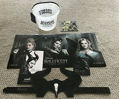 Addams Family & Maleficent 2019 Movie Promo Candy Bucket, Stickers, Posters++