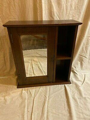 Antique Original Walnut Bathroom Medicine Wall Cabinet w/Locking Key