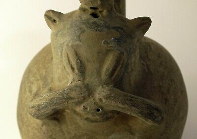 Pre Columbian Chimu or Tairona potttery blackware agouti