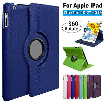 """360 Rotating Smart Case Leather Stand Cover For Apple iPad 7th Gen 10.2"""" 2019"""