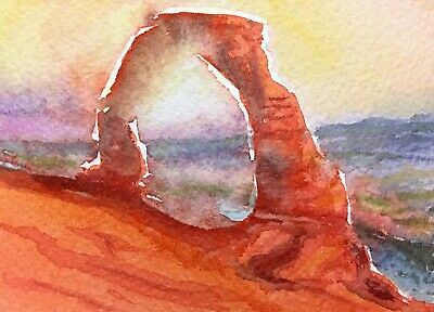 Original Watercolor Sandstone Arch Southwest Painting ACEO Art Card