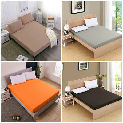 Solid Color Bed Sheet Bedding Cover Fitted Sheet Elastic King Double Single Size