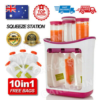 Feeding Baby Infant Food Squeeze Station Juice Fruit Maker Dispenser Storage Bag