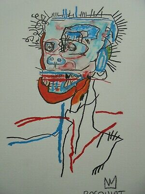 JEAN MICHEL BASQUIAT  DRAWING ON PAPER - DESSIN - painting - -