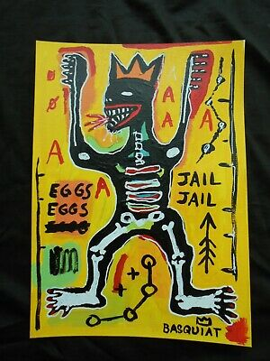 JEAN MICHEL BASQUIAT  PAINTING ON PAPER - DESSIN - drawing - -