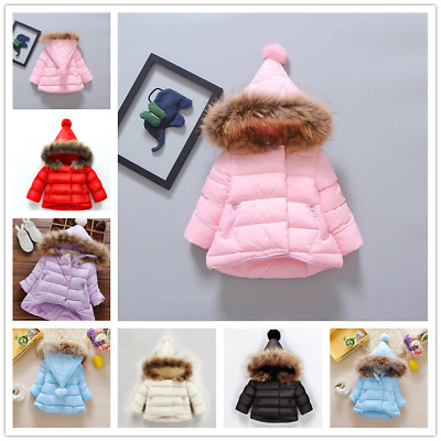 Baby Girls Winter Warm Hooded Cotton Padded Coat Kids Jacket Thicken Outerwear