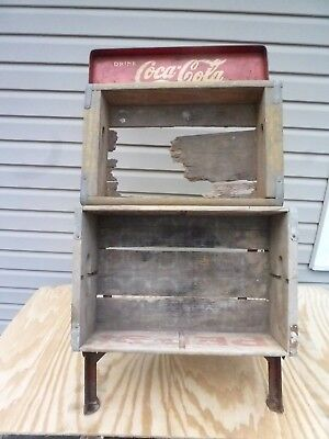 VINTAGE COCA COLA GAS STATION DISPLAY RACK - HOLDS 2 CASES (not included)