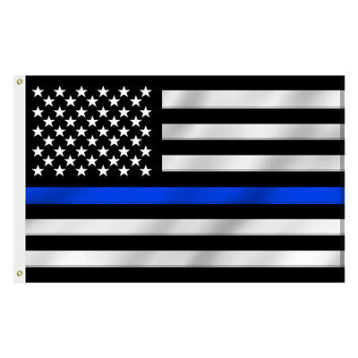 3x5 Ft Thin Blue Line American Flag Police Embroidered Stars and Sewn Stripes
