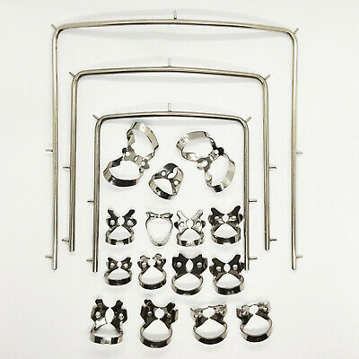 Set of 18 Rubber Dam Clamps & Frame Holder Stainless Steel Dental Instruments CE