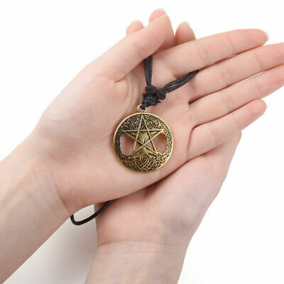 Womens Mens Round Hollow Celtic Knot Tree Star Pendant Adjustable Rope Necklace
