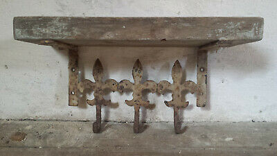 Antique French Coat Rack Wooden Wall Rack Jeanne d'Arc Living Fleur de Lis Hooks