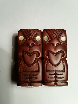 Hand Carved Wooden TIKI salt & Pepper shakers for tiki Bar Hawaiian Party retro