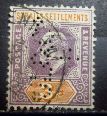 STRAITS SETTLEMENTS British Colonies Old stamp - Used - PERFIN- VF -  r65e6051