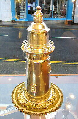 """Retro Silver Plated Novelty """"LIGHTHOUSE"""" COCKTAIL SHAKER with FILTER  Good Cond."""